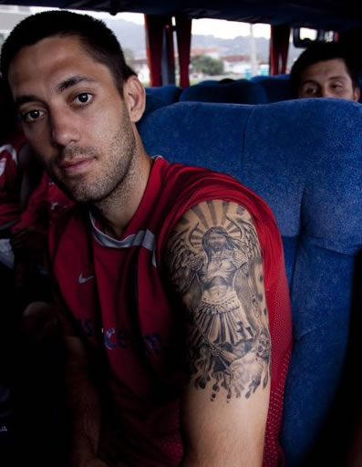 Fulham and USA superstar Clint Dempsey sporting a relatively new tattoo